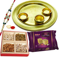 Silver Plated Thali Hamper with Sweets N Dry Fruits to Ahmadnagar