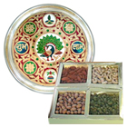 Subh Labh Stainless Steel Thali with Dry Fruits for Sister. to Bangalore