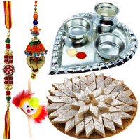 Silver Plated Paan Shaped Puja Aarti Thali with Kaju Katli N Rakhi. to Ahmadnagar