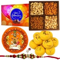 Cadbury Celebration, Mixed Dry Fruits, Haldiram Kesar Peda, Shree Thali and Rakhi to Ahmadnagar
