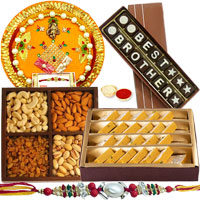 Best Brother Homemade Chocolate, Mixed Dry Fruits, Haldiram Badam Barfi, Shree Thali with Rakhi to Cochin