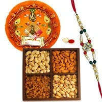 Pooja Thali with Dry Fruits and Rakhi. to Ahmadnagar