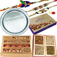 Cadbury Dry Fruit Box, Add 1 Designer Rakhin, <font color=#FF0000>Haldiram</font>s Assorted Sweets, Assorted Dry Fruits, Rakhi Thali, Free Rakhi, Roli & Tilak to Ahmadnagar