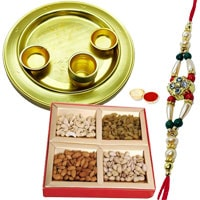 Special Gold Plated Thali with Dry Fruits and Rakhi to Dehradun