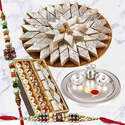 Special Gold Thali with Haldiram Kaju Katli and Dry Fruits with Free Rakhi to Ariyalur