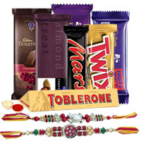 Irresistible Chocolate Gift Hamper with Elegant Floral Rakhi to Cochin