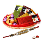 Trendsetting Chocolate Gift Basket with Pearl Rakhi to Cochin
