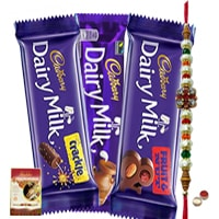 Assorted Cadburys Special Pack with Rakhi and Roli Tilak Chawal to India