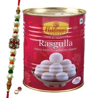 Haldiram Rasgulla with Designer Rakhi with Free Roli Tika and Chawal to Tirunelveli