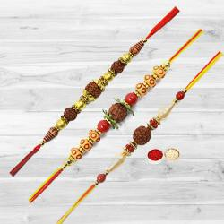 Three Rudraksha Rakhi with Roli Tika and Chawal to Nakoda