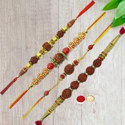 Four Rudraksha Rakhi with Roli Tika and Chawal to Nakoda