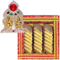 Ganesh Laxmi with Golden Finish N Haldirams Kaju Katli  to Hyderabad