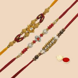 Lovely colorful 3 pcs Rakhi Set for dear Brother with Roli Tilak and Chawal to Nakoda