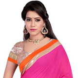 Soft Shimmer Pink Georgette Saree to Purulia