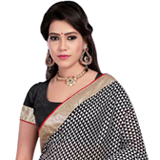 Charisma�s Refinement Black and Red Bhagalpuri Print Saree to Bangalore