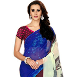 Mind-Blowing Varicolored Marbel Chiffon Printed Saree to Jaipur