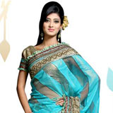 Fascinating Blue Hued Viscose Saree to Bangalore