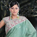 Classy Sea Green Crepe Jacquard Saree to Padi
