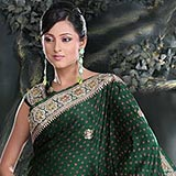Sensational Deep Green Gajji Silk Saree