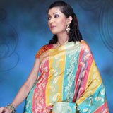 Stylish multicolored benarasi silk saree.