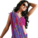 Gorgeous purple faux georgette saree with floral print. to Balkum