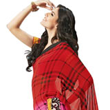 Vibrant Red & Pink Georgette Saree to Gurgaon