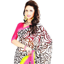 Gorgeous Black and White Georgette Satin Saree to Agra