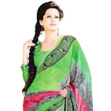 Splendid Green Faux Georgette Saree to Delhi