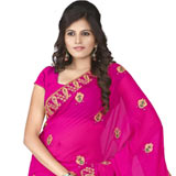 Gorgeous looking pink colour embroidered chiffon saree to Purulia