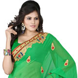 Mesmerizing saree in green colour with embroidery borders to Pallagoundapalayam