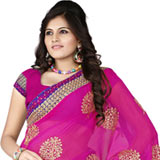 Adorning chiffon embroidered pink colour saree to Bangalore