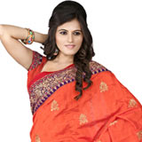 Adorable looking orange colour embroidered silk saree to Purulia