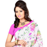 Remarkable looking white colour georgette floral print saree to Puzhal