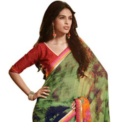 Extravagant Olive Green Faux Georgette Saree to Bangalore