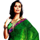 Adorning Green Faux Georgette Saree with Striped Weave to Bangalore
