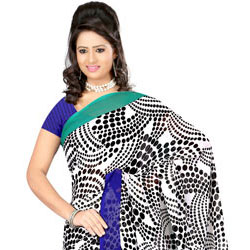 Marvelous Dani Georgette Saree in Black and White Colour Shades to Purulia