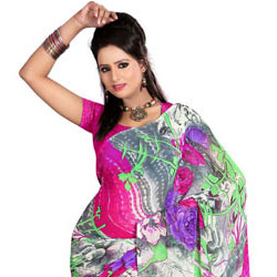 Comfy Floral Printed Dani Georgette Saree in Style to Akola