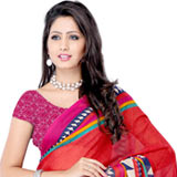 Exotic Red Coloured Georgette Printed Saree to Purulia