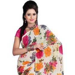 Wonderful Off White and Pink Coloured Saree with Epitome of Style to Gorakhpur