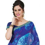Amazing Multicolor Faux Georgette Saree to Chandigarh