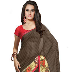 Extravagant Brown and Beige Faux Georgette Saree to Gurgaon