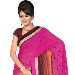 Admirable Pink, Chrome and Brown in Colour Gorgettee Printted Saree to Akola