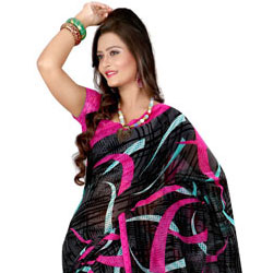 Breathtaking Georgette Printed Saree in Black to Athani