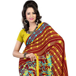 Extravagant Brown and Mustard Coloured Faux Georgette Saree to India