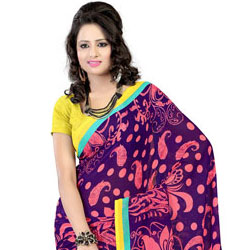 Wonderfully Designed Faux Georgette Printed Saree in Purple to Mohali