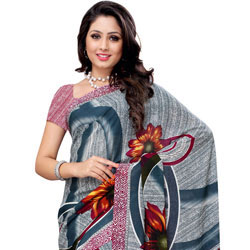 Classy Teal and White Coloured Renial Georgette  Printed Saree to Bhadrawati