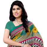 Multi- Colored Heavy Renial Georgette Printed Saree to Bhubaneswar