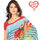 Incomparable Yellow and Sky Blue Georgette Printed Saree to Dinahata