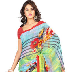 Incomparable Yellow and Sky Blue Georgette Printed Saree to Gorakhpur