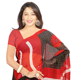 Marvelous Chiffon Printed Saree Shaded in Red and Grey to Purulia